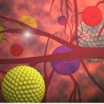 Image: A stylised image of cancer detecting nanoparticles in the body. Credit: Yong Fan.