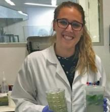 Annamaria de Rosa working in the lab to explore the diversity and function of aquaporins inside plant cells. Credit:  Dr Tory Clark, CoETP.